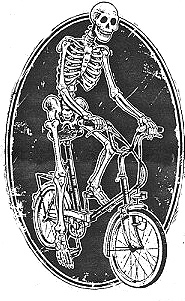 Skeleton on bike