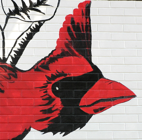 Haley school mural cardinal head